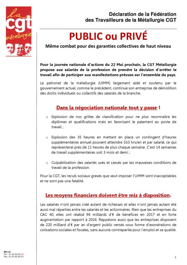 thumbnail of Déclaration FTM – 22 mai 2018