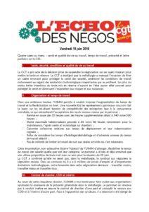 thumbnail of Echo des négos du 15 juin 2018