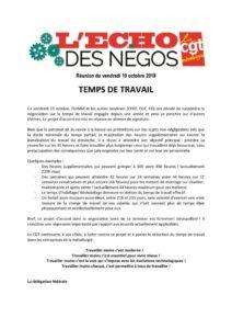 thumbnail of Echo des négos du 19 octobre 2018 – Temps de travail